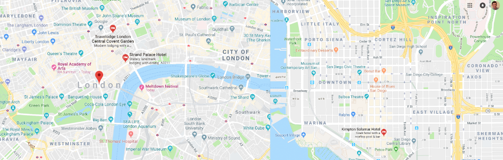 London on the Left, San Diego on the Right. Observe the layout of the streets.
