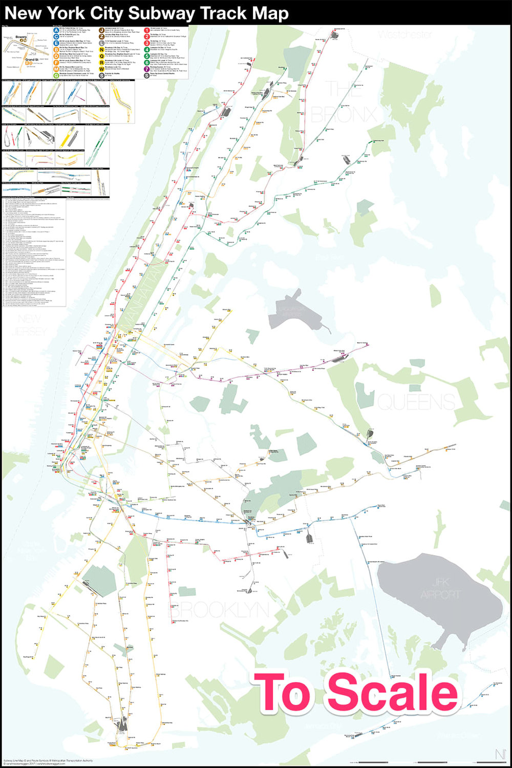 To Scale New York Subway Map