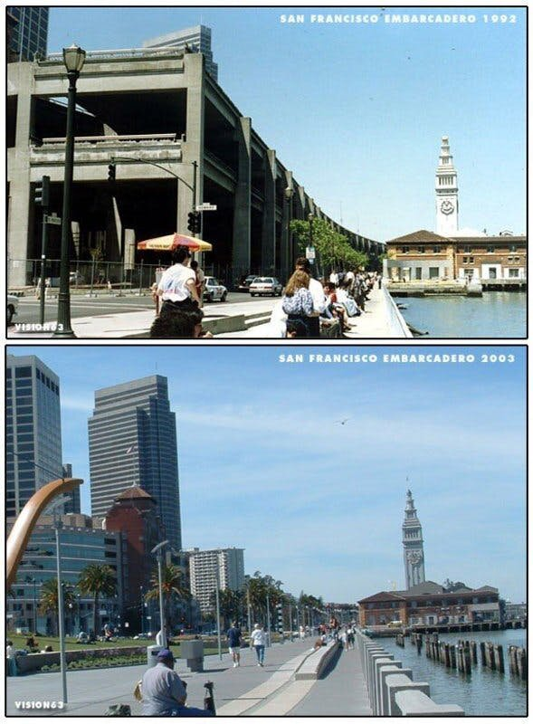 Before and after image of the Embarcadero after the freeway demolition