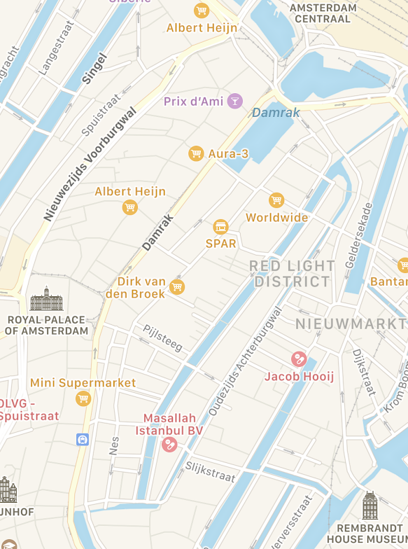 Source: Apple Maps. Nice how chaotic Amsterdam's streets are. Inner Amsterdam was shaped as much by the canals as it was by its citizens, and the criss-cross of streets indicate the lack of a central planner .