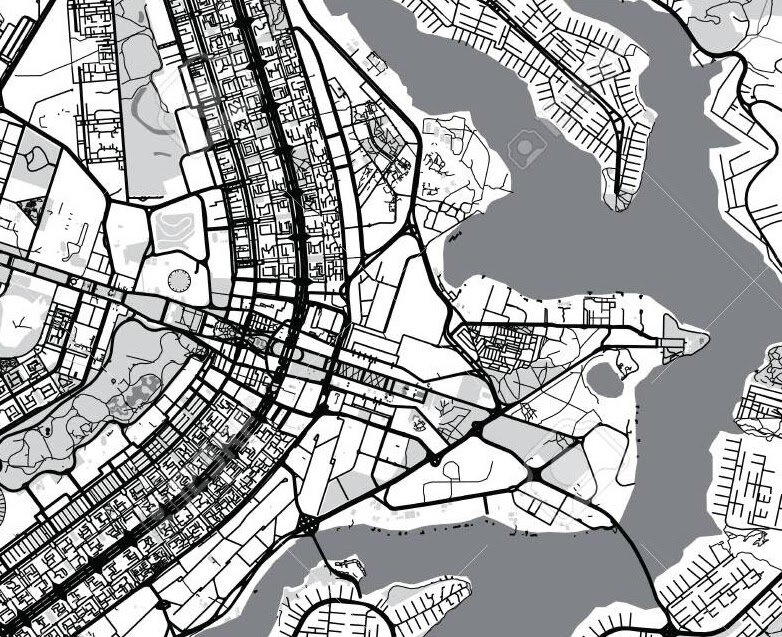 Source   : Note how straight the lines are and how long the roads are, two signs of a centrally planned city built for cars instead of people. It looks like an airport map. From the perspective of a map-maker, Brasília is much cleaner than Amsterdam .