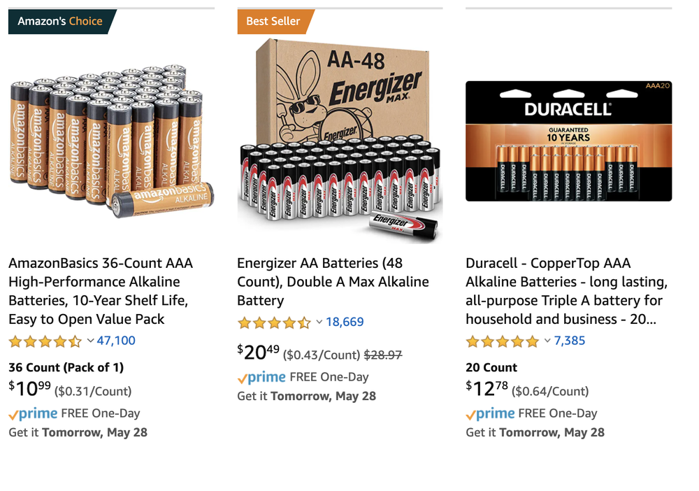 Amazon highlights its own private-labeled battery product (   Amazon search   ).