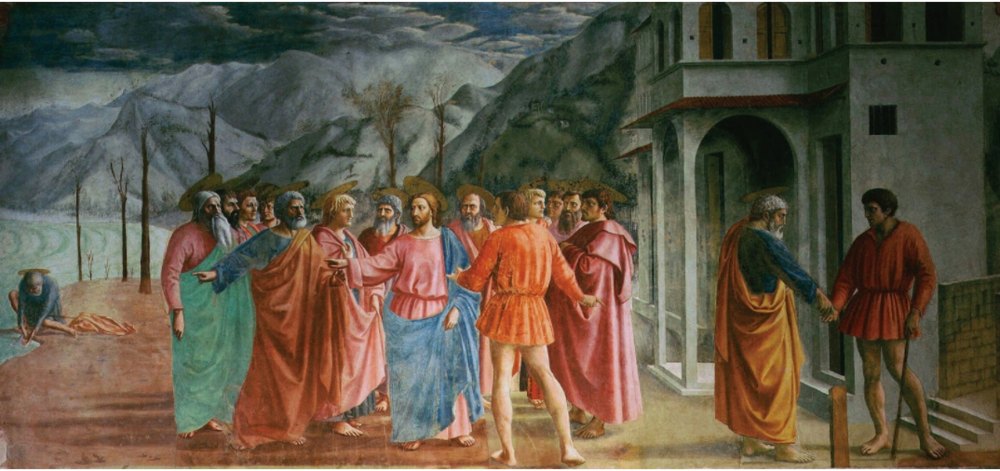 Masaccio's  Tribute to Money  in 1425, with much more depth than the painting above.