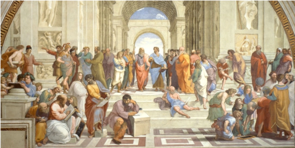 Raphael's  The School of Athens  painting has a three-dimensional quality that artists couldn't communicate 200 years before.